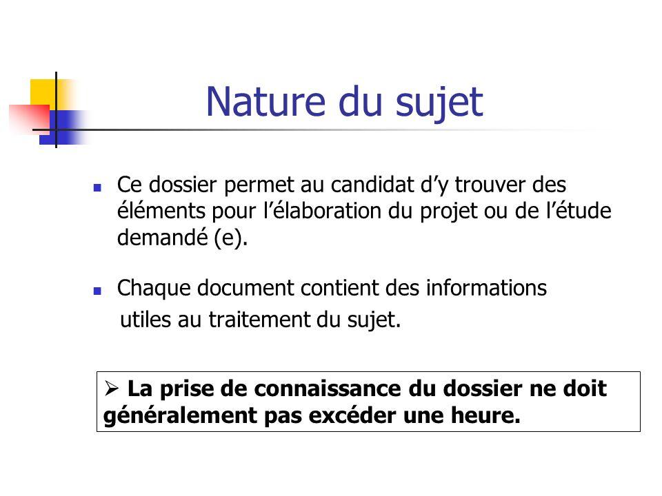 Nature du sujet Ce dossier permet au candidat dy trouver des éléments pour lélaboration du projet ou de létude demandé (e). Chaque document contient d