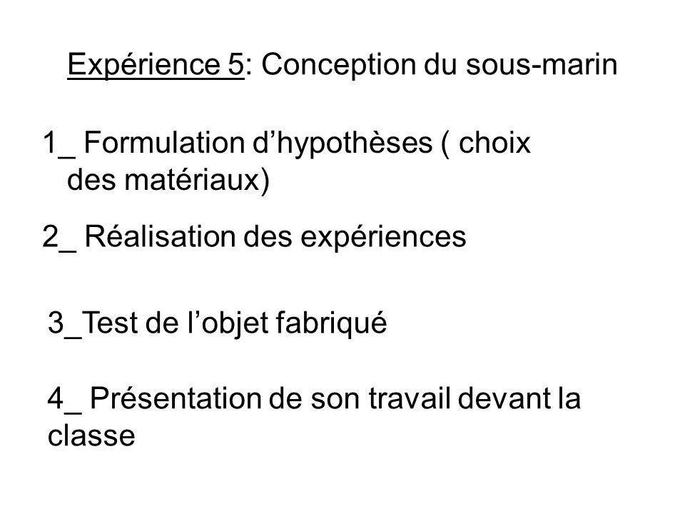 Expérience 5: Conception du sous-marin 1_ Formulation dhypothèses ( choix des matériaux) 2_ Réalisation des expériences 3_Test de lobjet fabriqué 4_ Présentation de son travail devant la classe