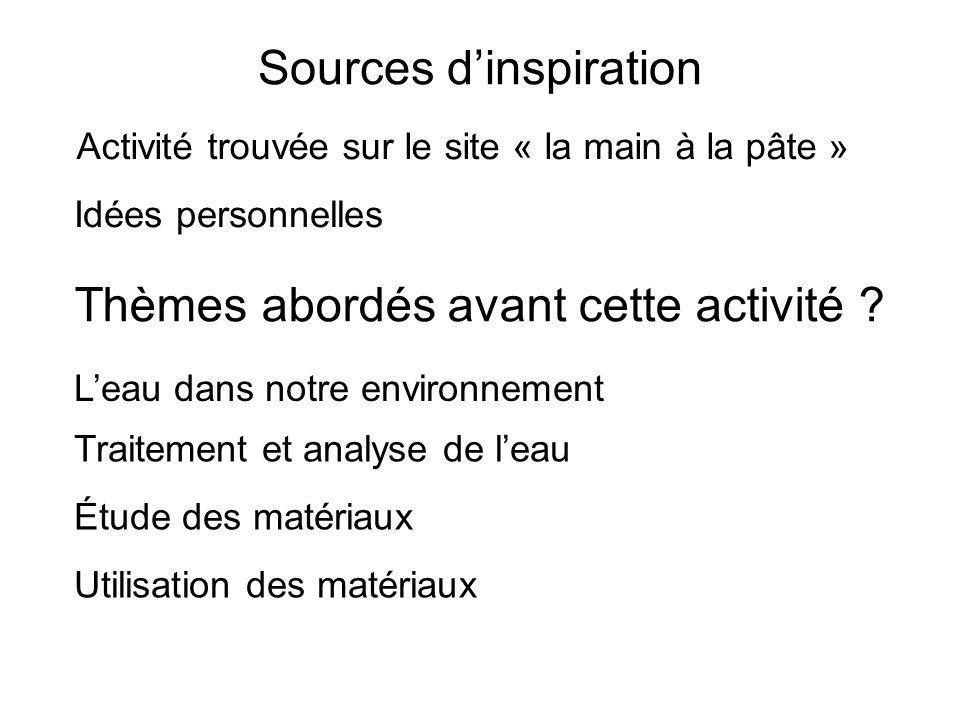 Sources dinspiration Activité trouvée sur le site « la main à la pâte » Thèmes abordés avant cette activité .
