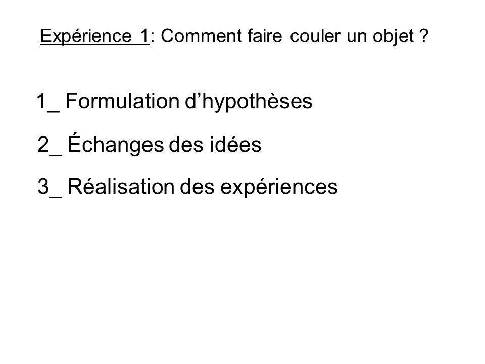 Expérience 1: Comment faire couler un objet ? 1_ Formulation dhypothèses 3_ Réalisation des expériences 2_ Échanges des idées