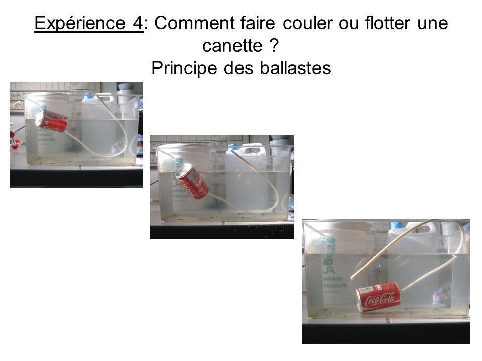Expérience 4: Comment faire couler ou flotter une canette ? Principe des ballastes