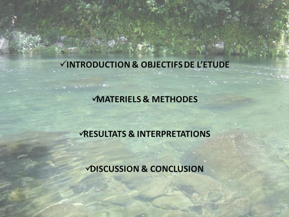 INTRODUCTION & OBJECTIFS DE LETUDE MATERIELS & METHODES RESULTATS & INTERPRETATIONS DISCUSSION & CONCLUSION 2