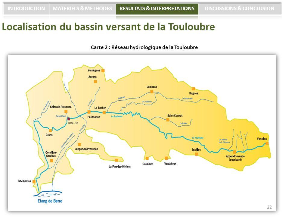 Localisation du bassin versant de la Touloubre Carte 2 : Réseau hydrologique de la Touloubre 22