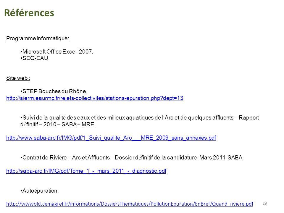 29 Programme informatique: Microsoft Office Excel 2007. SEQ-EAU. Site web : STEP Bouches du Rhône. http://sierm.eaurmc.fr/rejets-collectivites/station