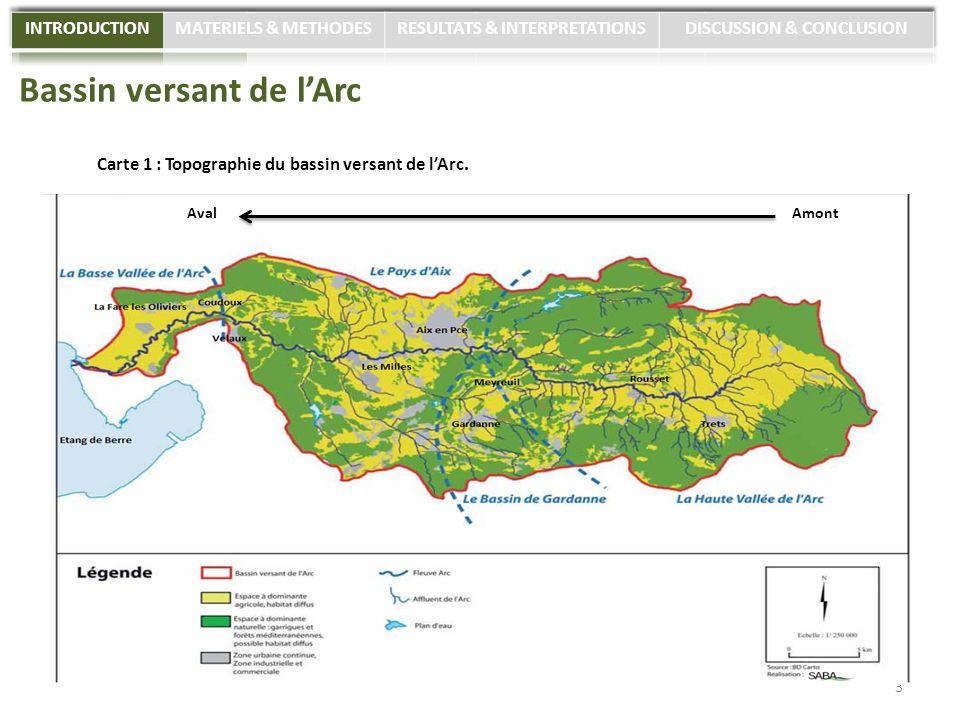 Bassin versant de lArc Carte 1 : Topographie du bassin versant de lArc. 3 AmontAval
