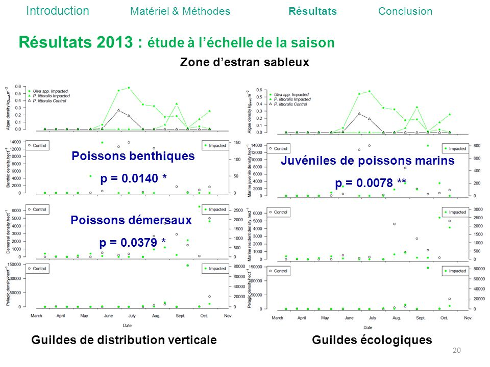 20 Guildes de distribution verticaleGuildes écologiques Poissons benthiques p = 0.0140 * Poissons démersaux p = 0.0379 * Juvéniles de poissons marins