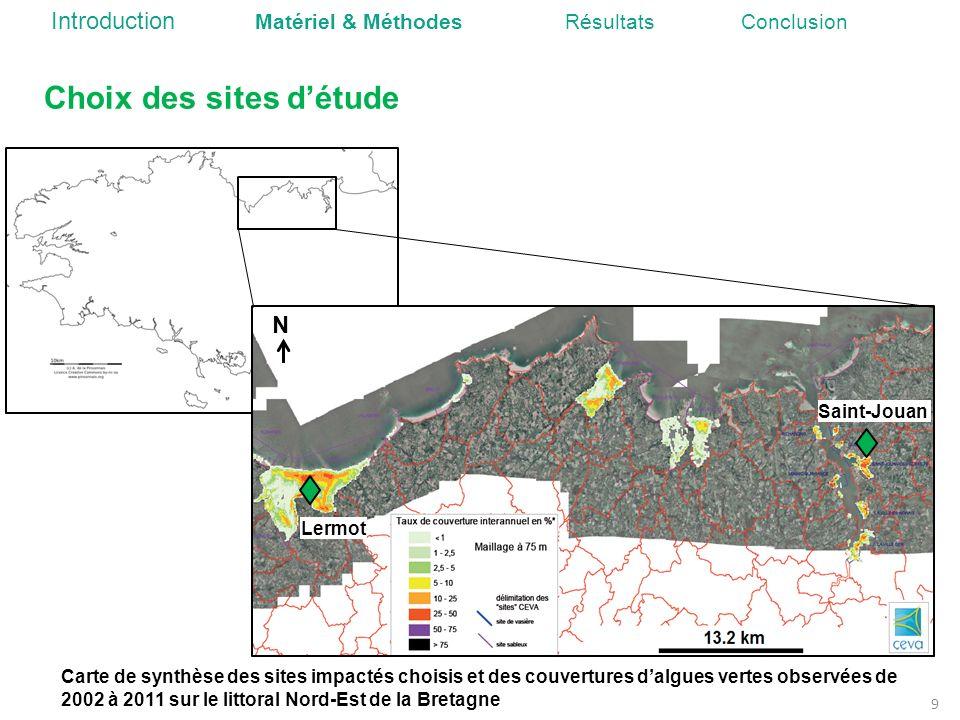 Choix des sites détude Carte de synthèse des sites impactés choisis et des couvertures dalgues vertes observées de 2002 à 2011 sur le littoral Nord-Es