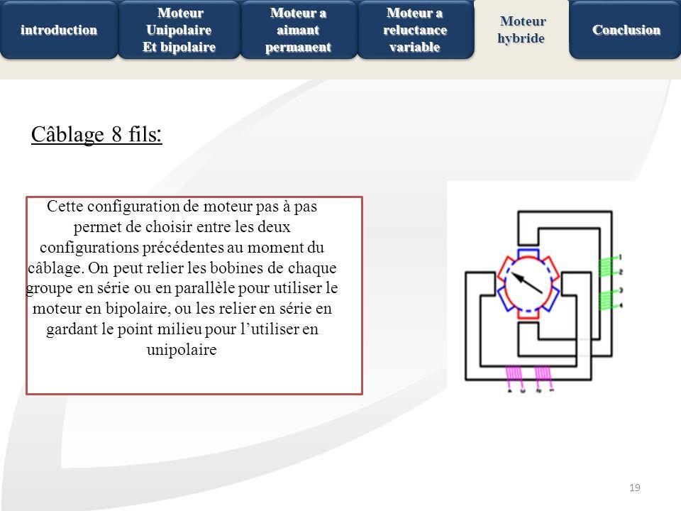 19 Câblage 8 fils : Cette configuration de moteur pas à pas permet de choisir entre les deux configurations précédentes au moment du câblage. On peut