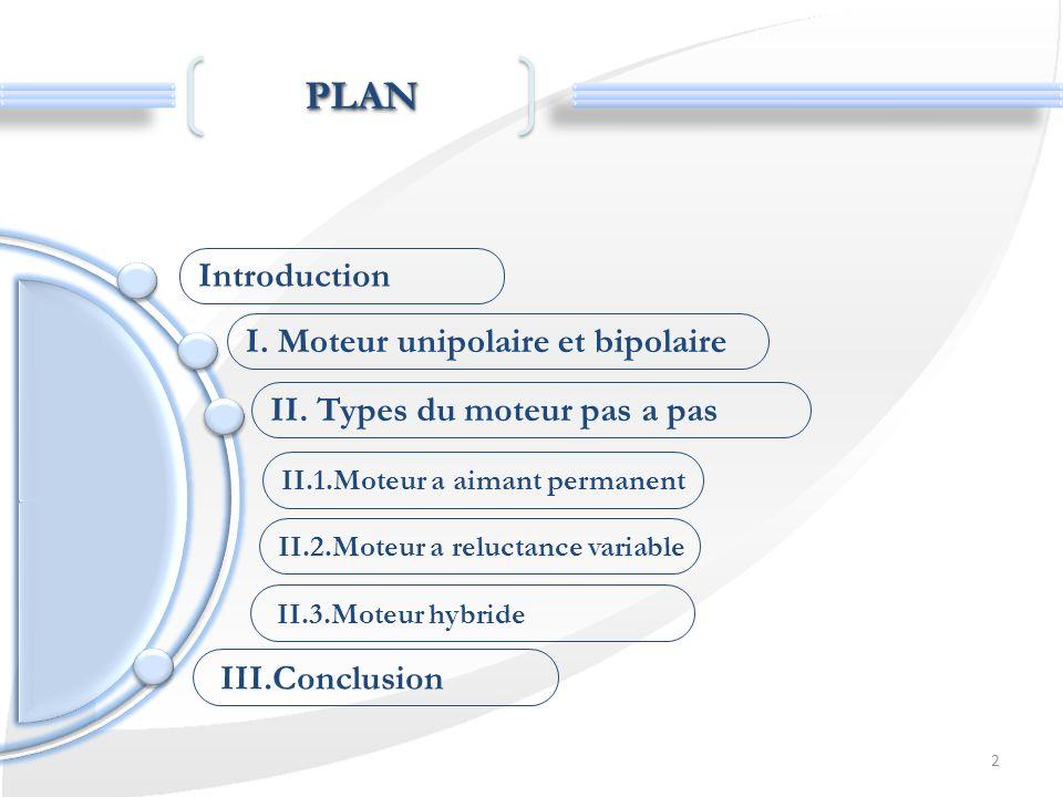 2 PLANPLAN Introduction I. Moteur unipolaire et bipolaire II.2.Moteur a reluctance variable II. Types du moteur pas a pas II.1.Moteur a aimant permane