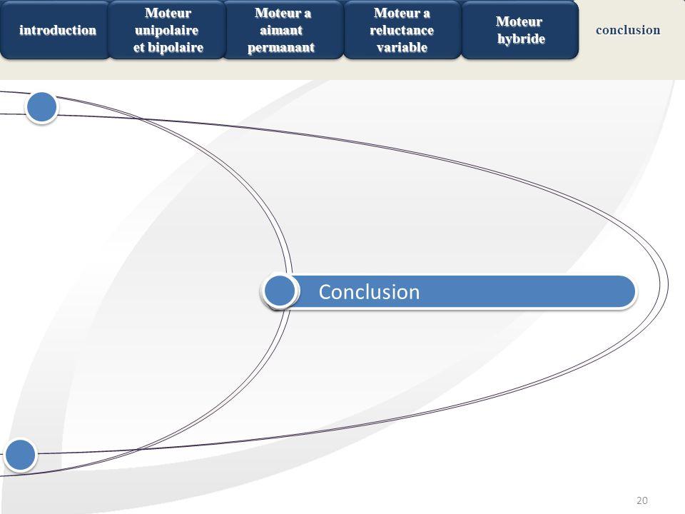 20 Conclusion ConclusionconclusionMoteur hybride hybrideMoteur introduction introduction Moteur a reluctance variable Moteur a aimant permanant Moteur