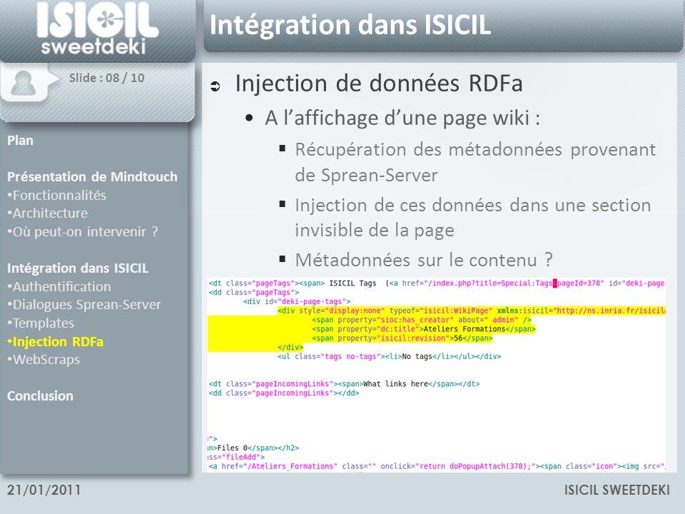 ISICIL SWEETDEKI21/01/2011 Intégration dans ISICIL Injection de données RDFa A laffichage dune page wiki : Récupération des métadonnées provenant de Sprean-Server Injection de ces données dans une section invisible de la page Métadonnées sur le contenu .