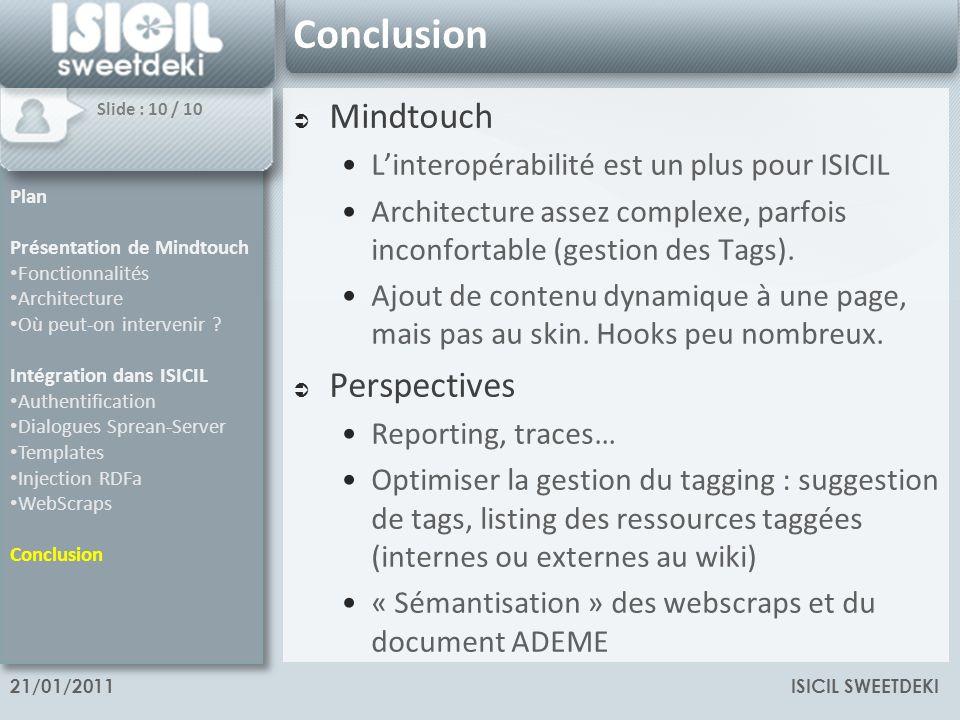ISICIL SWEETDEKI21/01/2011 Conclusion Mindtouch Linteropérabilité est un plus pour ISICIL Architecture assez complexe, parfois inconfortable (gestion des Tags).