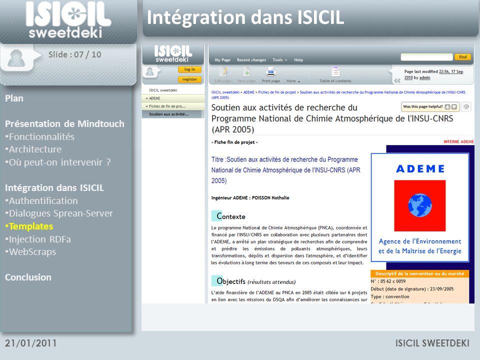 ISICIL SWEETDEKI21/01/2011 Intégration dans ISICIL Templates Rédaction dun document formaté Formulaire encapsulé dans une page spéciale Appel à un template pour la mise en forme des données issues du formulaire.