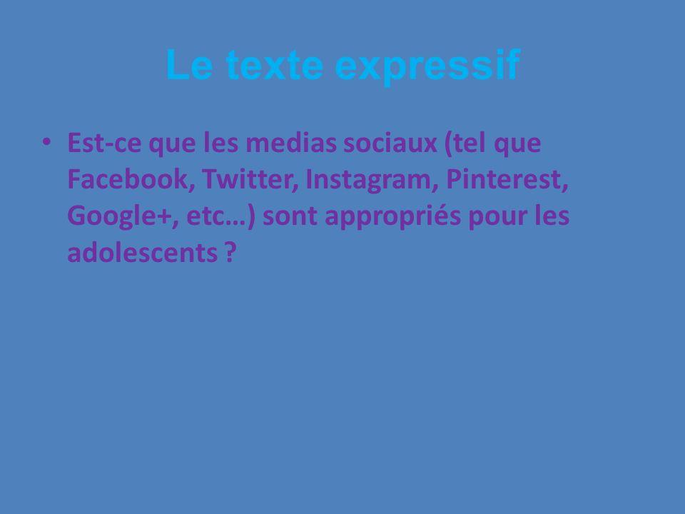 Le texte expressif Est-ce que les medias sociaux (tel que Facebook, Twitter, Instagram, Pinterest, Google+, etc…) sont appropriés pour les adolescents ?