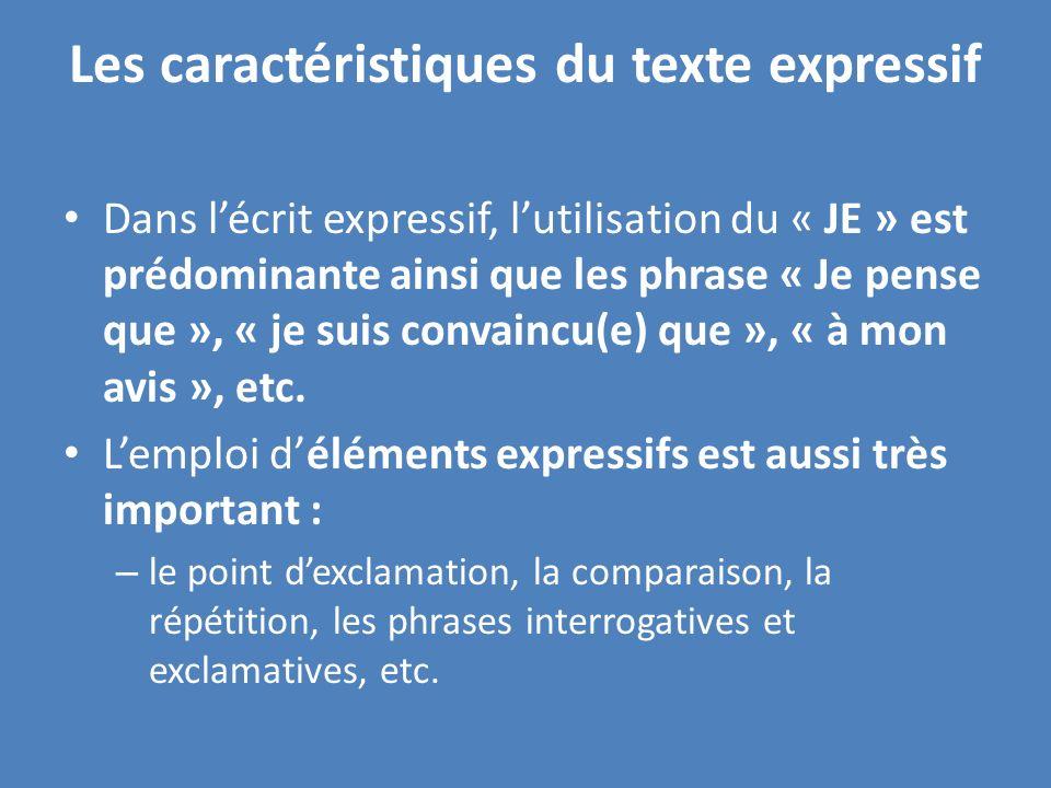 Les caractéristiques du texte expressif Dans lécrit expressif, lutilisation du « JE » est prédominante ainsi que les phrase « Je pense que », « je suis convaincu(e) que », « à mon avis », etc.