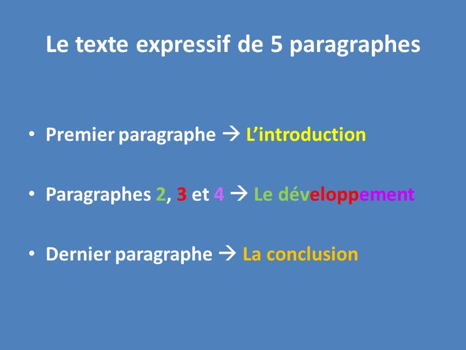 Le texte expressif de 5 paragraphes Premier paragraphe Lintroduction Paragraphes 2, 3 et 4 Le développement Dernier paragraphe La conclusion