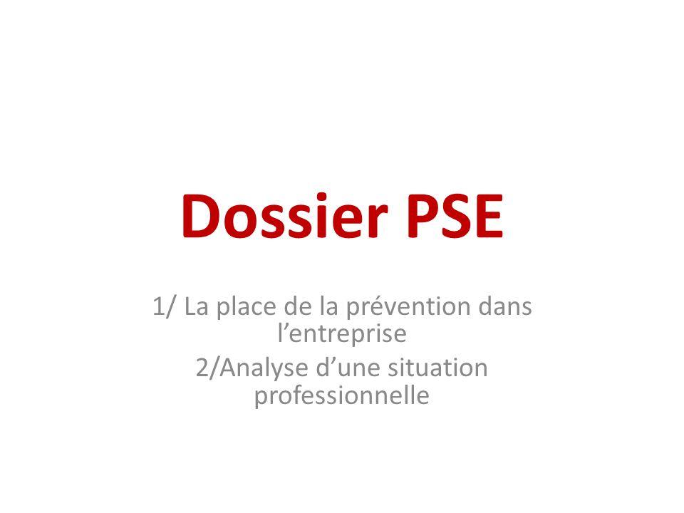 Dossier PSE 1/ La place de la prévention dans lentreprise 2/Analyse dune situation professionnelle
