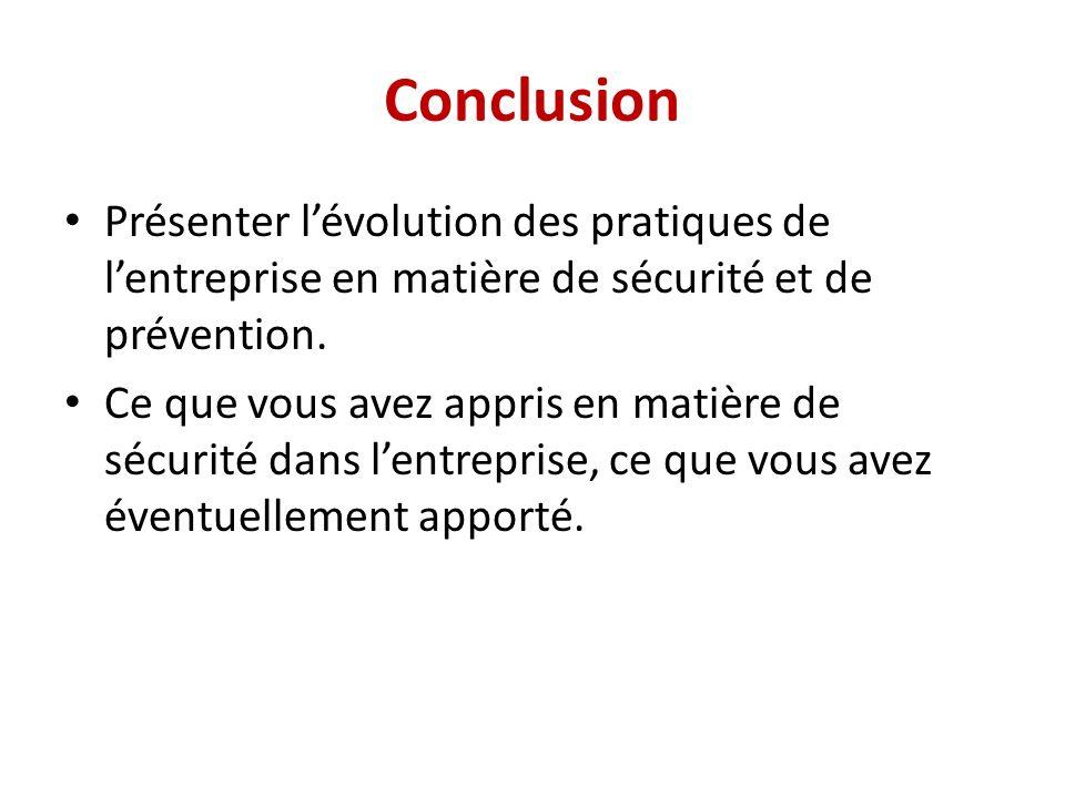 Conclusion Présenter lévolution des pratiques de lentreprise en matière de sécurité et de prévention.