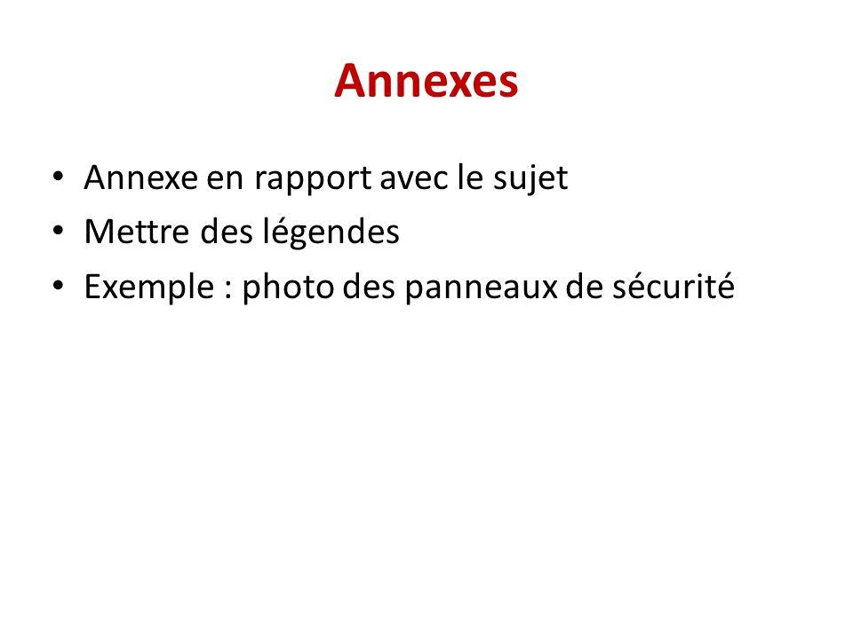 Annexes Annexe en rapport avec le sujet Mettre des légendes Exemple : photo des panneaux de sécurité