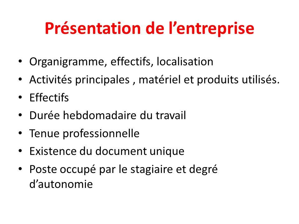 Présentation de lentreprise Organigramme, effectifs, localisation Activités principales, matériel et produits utilisés.