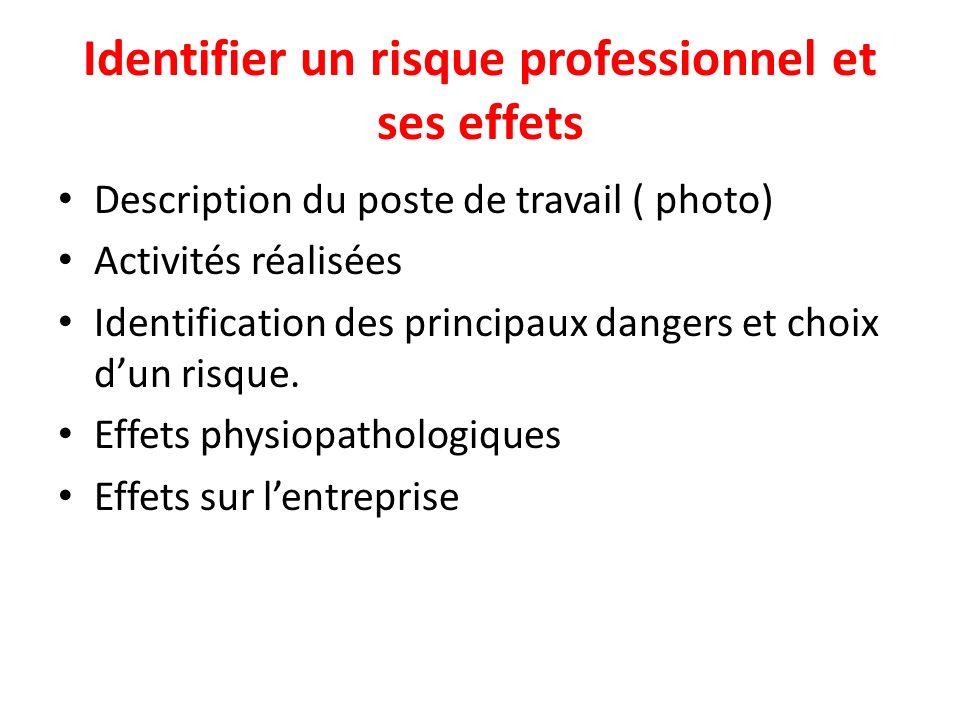 Identifier un risque professionnel et ses effets Description du poste de travail ( photo) Activités réalisées Identification des principaux dangers et choix dun risque.
