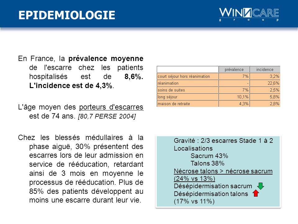 En France, la prévalence moyenne de l escarre chez les patients hospitalisés est de 8,6%.