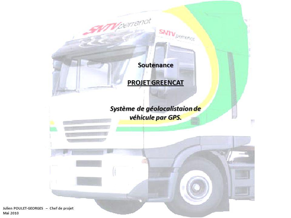 Julien POULET-GEORGES – Chef de projet Mai 2010 Soutenance PROJET GREENCAT Système de géolocalistaion de véhicule par GPS.