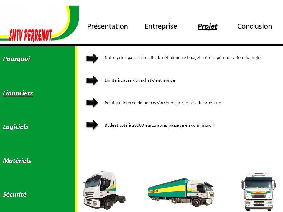 PrésentationEntrepriseProjetConclusion PourquoiFinanciersLogicielsMatérielsSécurité La solution logiciel sétant fixé sur GreenCat, jai donc du présenté le « gros » du projet à M.