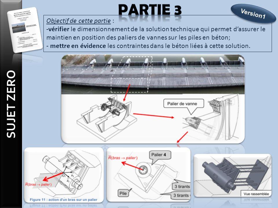 Objectif de cette partie : -vérifier le dimensionnement de la solution technique qui permet dassurer le maintien en position des paliers de vannes sur les piles en béton; - mettre en évidence les contraintes dans le béton liées à cette solution.