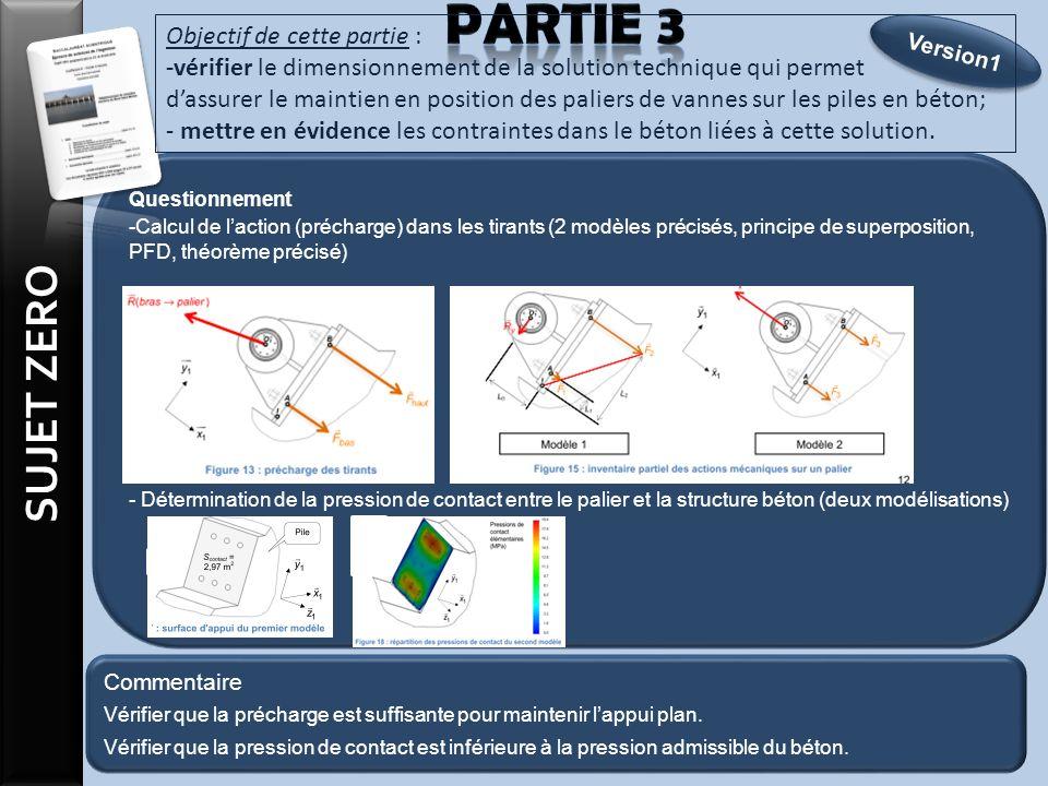 Questionnement -Calcul de laction (précharge) dans les tirants (2 modèles précisés, principe de superposition, PFD, théorème précisé) - Détermination de la pression de contact entre le palier et la structure béton (deux modélisations) Objectif de cette partie : -vérifier le dimensionnement de la solution technique qui permet dassurer le maintien en position des paliers de vannes sur les piles en béton; - mettre en évidence les contraintes dans le béton liées à cette solution.