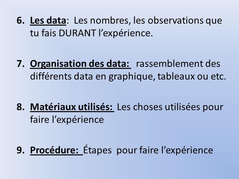 6.Les data: Les nombres, les observations que tu fais DURANT lexpérience. 7.Organisation des data: rassemblement des différents data en graphique, tab
