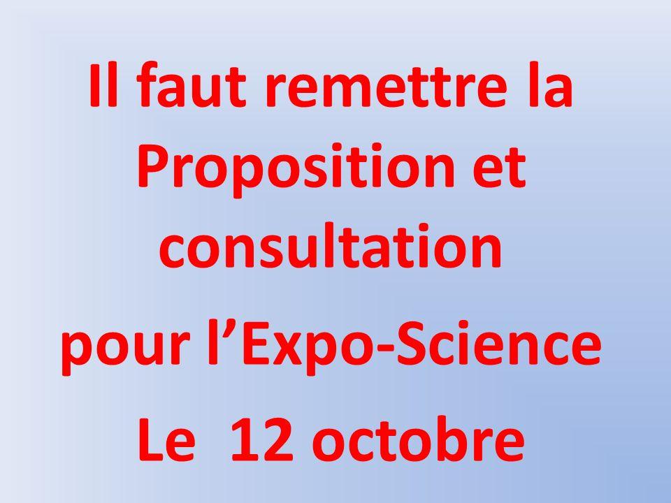 Il faut remettre la Proposition et consultation pour lExpo-Science Le 12 octobre