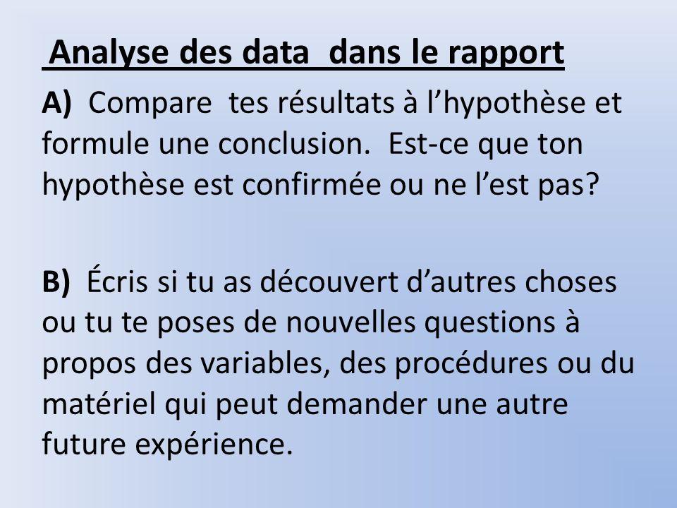 Analyse des data dans le rapport A) Compare tes résultats à lhypothèse et formule une conclusion. Est-ce que ton hypothèse est confirmée ou ne lest pa