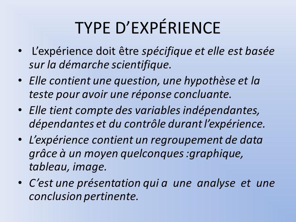 TYPE DEXPÉRIENCE Lexpérience doit être spécifique et elle est basée sur la démarche scientifique. Elle contient une question, une hypothèse et la test