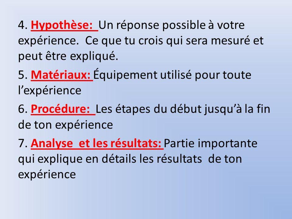4. Hypothèse: Un réponse possible à votre expérience. Ce que tu crois qui sera mesuré et peut être expliqué. 5. Matériaux: Équipement utilisé pour tou