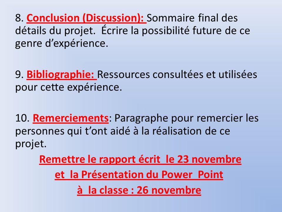 8. Conclusion (Discussion): Sommaire final des détails du projet. Écrire la possibilité future de ce genre dexpérience. 9. Bibliographie: Ressources c