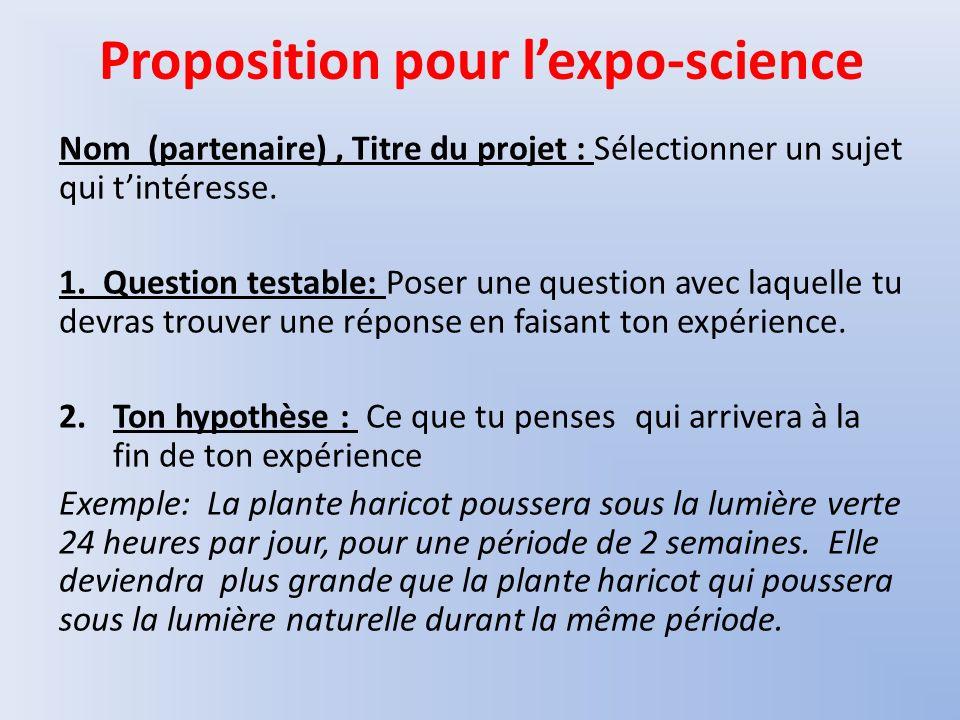 Proposition pour lexpo-science Nom (partenaire), Titre du projet : Sélectionner un sujet qui tintéresse. 1. Question testable: Poser une question avec