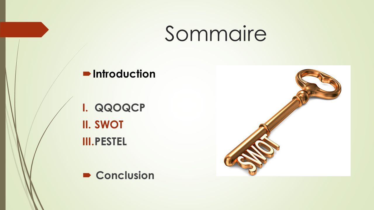 Sommaire Introduction I.QQOQCP II.SWOT III.PESTEL Conclusion