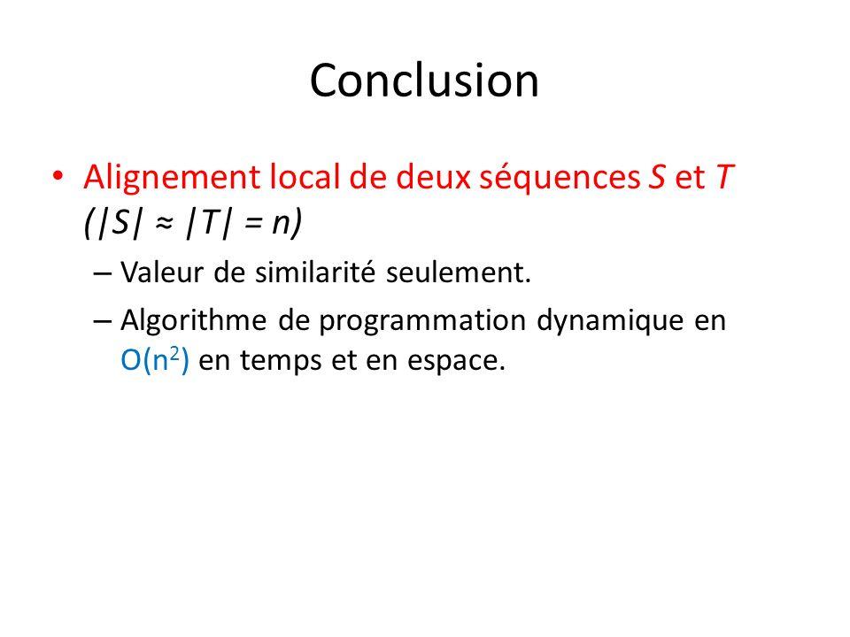 Conclusion Alignement local de deux séquences S et T (|S| |T| = n) – Valeur de similarité seulement. – Algorithme de programmation dynamique en O(n 2