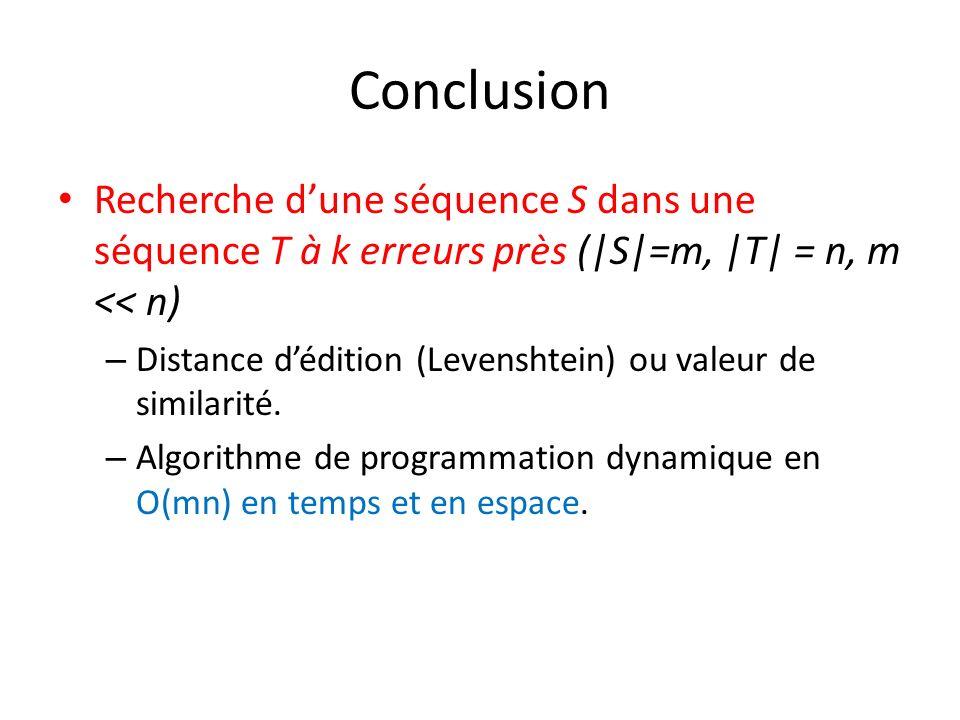 Conclusion Recherche dune séquence S dans une séquence T à k erreurs près (|S|=m, |T| = n, m << n) – Distance dédition (Levenshtein) ou valeur de simi