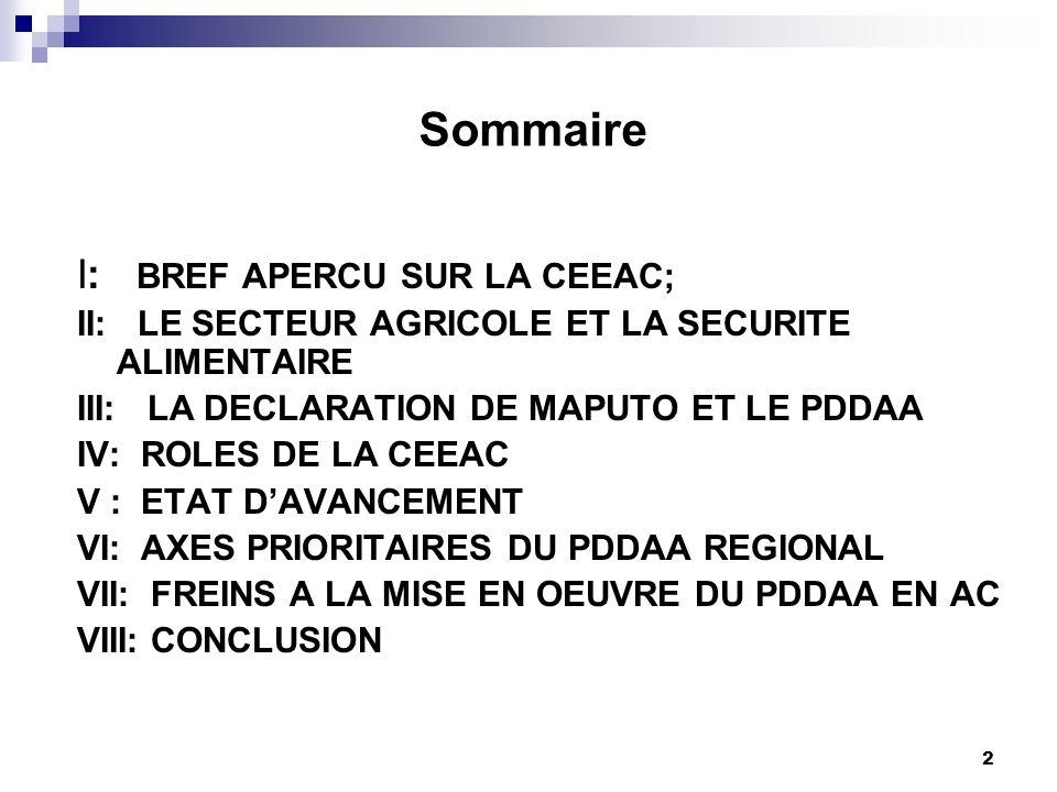 1 ATELIER CEEAC-PROPAC sur la PAC ET LE PDDAA REGIONAL Douala, 16-18 avril 2013 : Dr Joël BEASSEM Chargé de lAgriculture et du Développement Rural Che