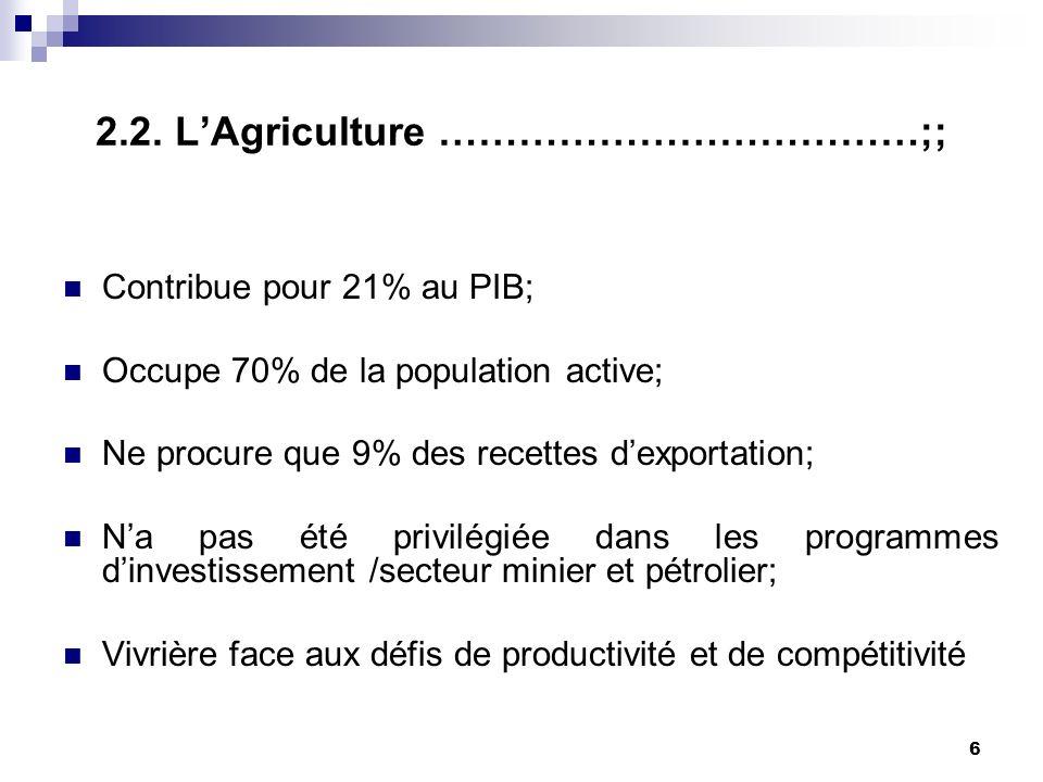 5 II: Le Secteur agricole : 2.1. Objectifs de la CEEAC pour le secteur agricole............................................... Accroissement de la pro