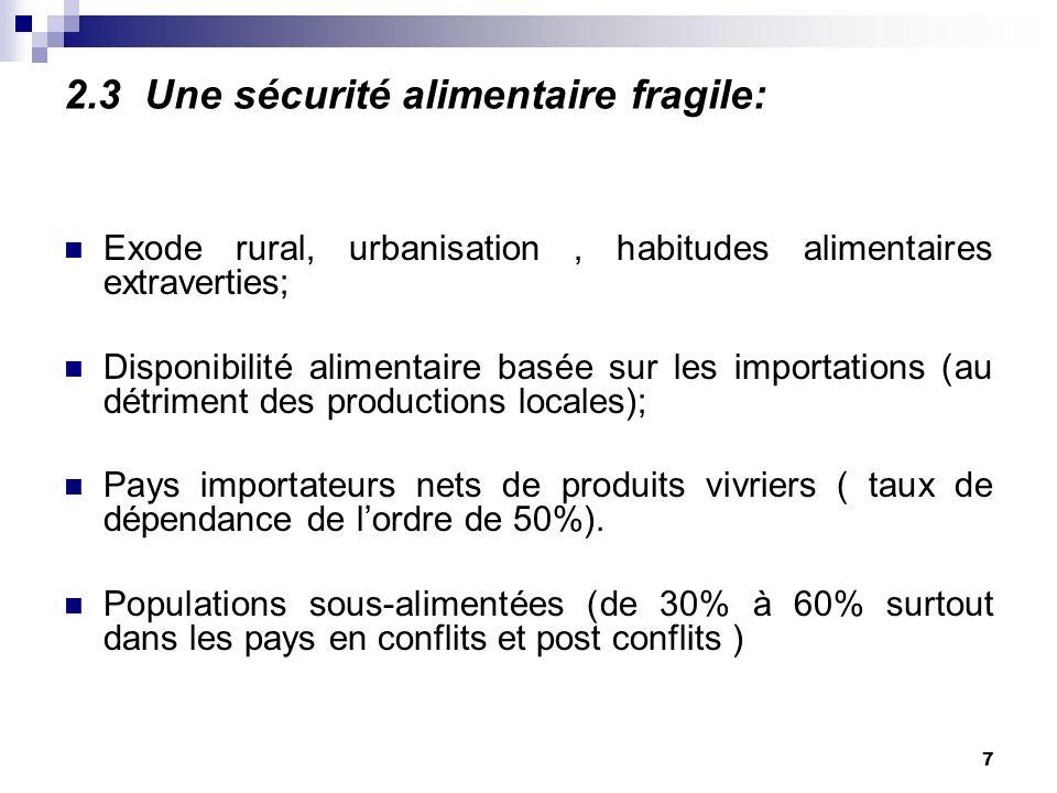 6 2.2. LAgriculture ………………………………;; Contribue pour 21% au PIB; Occupe 70% de la population active; Ne procure que 9% des recettes dexportation; Na pas
