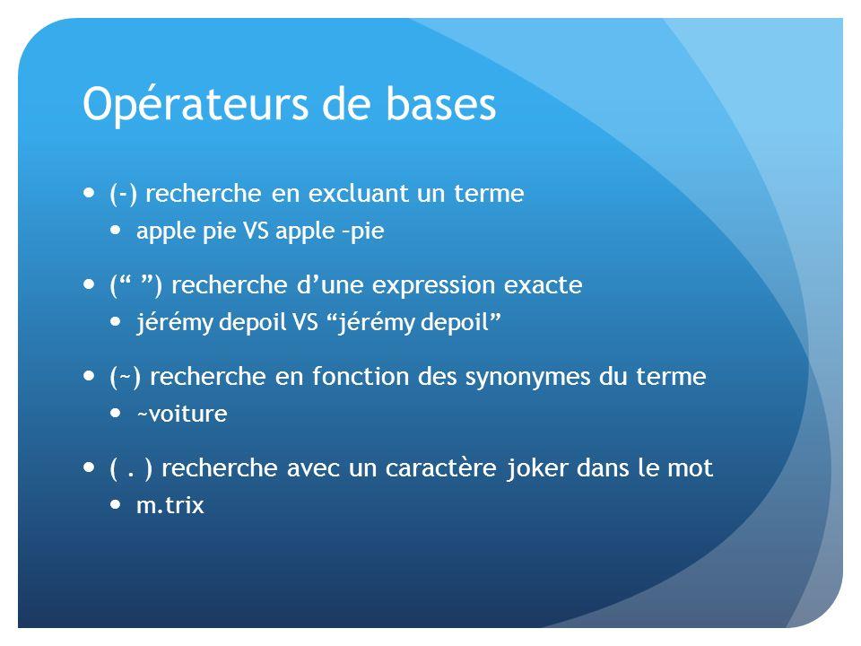 Opérateurs de bases (-) recherche en excluant un terme apple pie VS apple –pie ( ) recherche dune expression exacte jérémy depoil VS jérémy depoil (~)