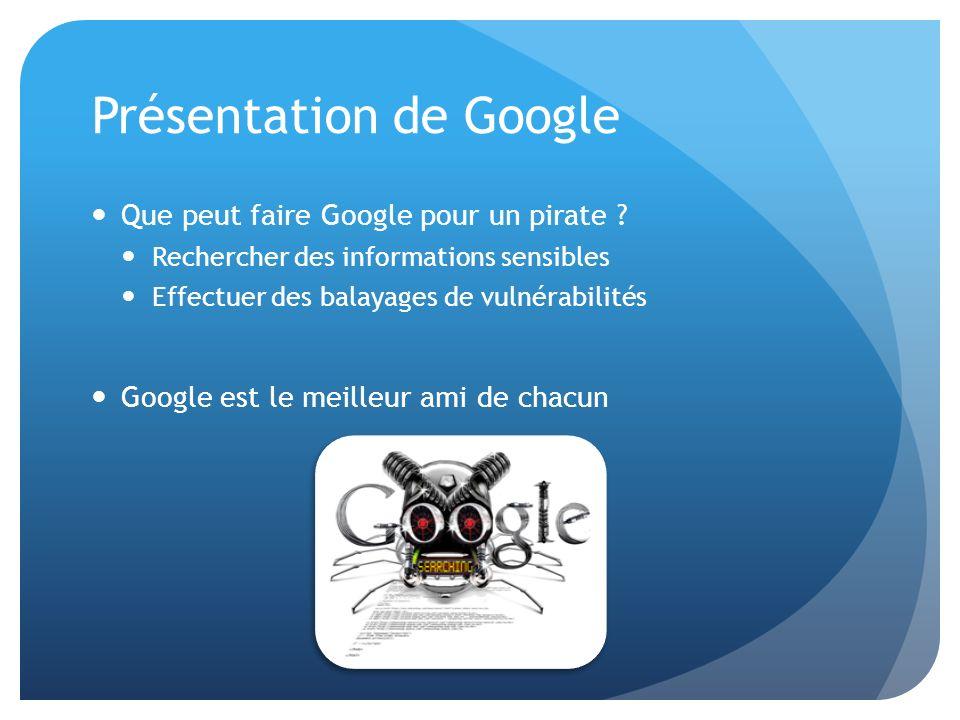 Présentation de Google Que peut faire Google pour un pirate ? Rechercher des informations sensibles Effectuer des balayages de vulnérabilités Google e