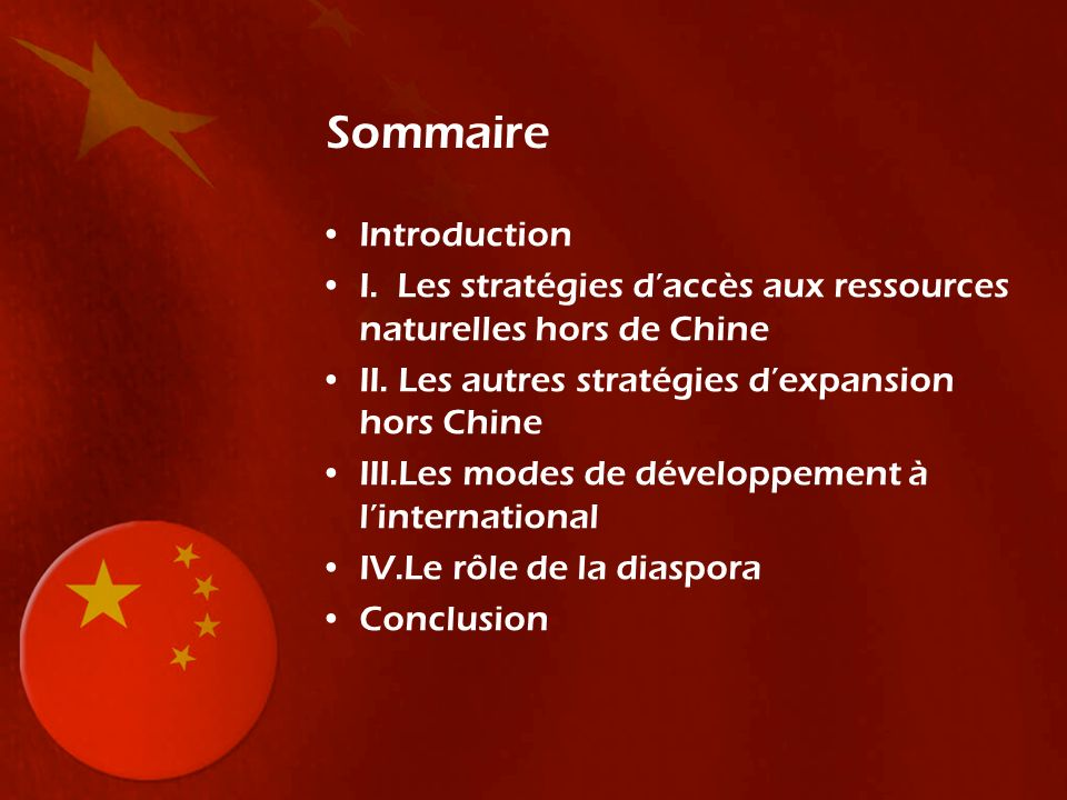 Quelques exemples: - Lenovo (informatique), n°1 en Chine, rachète la branche PC dIBM en 2004 - ZTE (téléphonie) => Europe et Amérique - Chinalco/Rio Tinto (minerai), échec de la tentative de recapitalisation