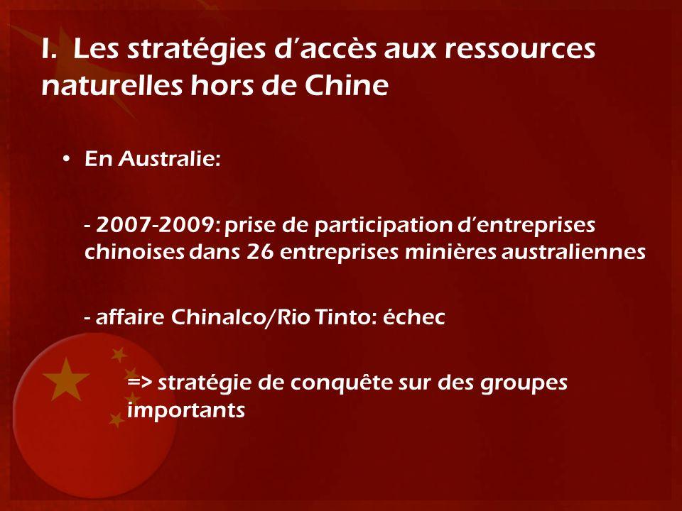 I. Les stratégies daccès aux ressources naturelles hors de Chine En Australie: - 2007-2009: prise de participation dentreprises chinoises dans 26 entr