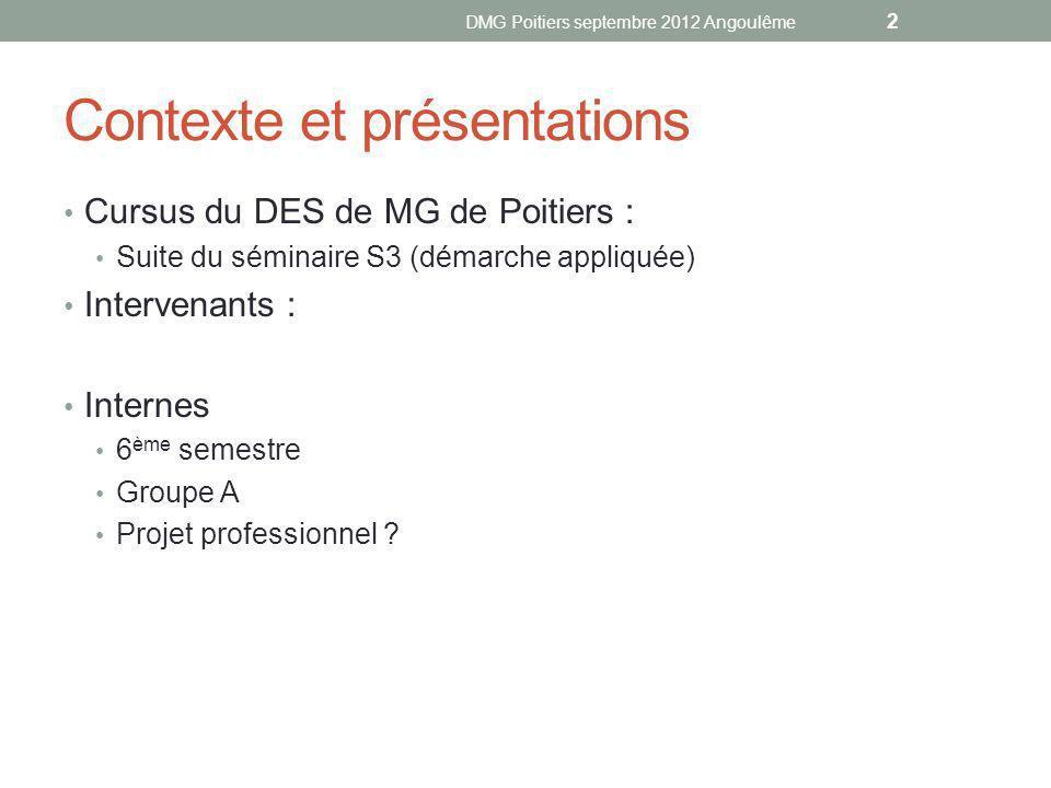 Contexte et présentations Cursus du DES de MG de Poitiers : Suite du séminaire S3 (démarche appliquée) Intervenants : Internes 6 ème semestre Groupe A Projet professionnel .