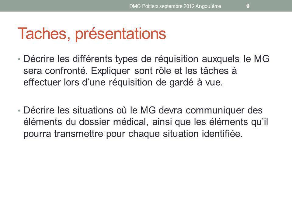 Taches, présentations Décrire les différents types de réquisition auxquels le MG sera confronté.