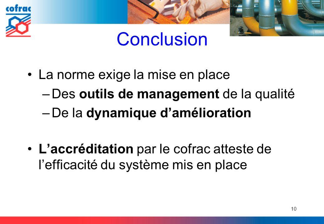Conclusion La norme exige la mise en place –Des outils de management de la qualité –De la dynamique damélioration Laccréditation par le cofrac atteste